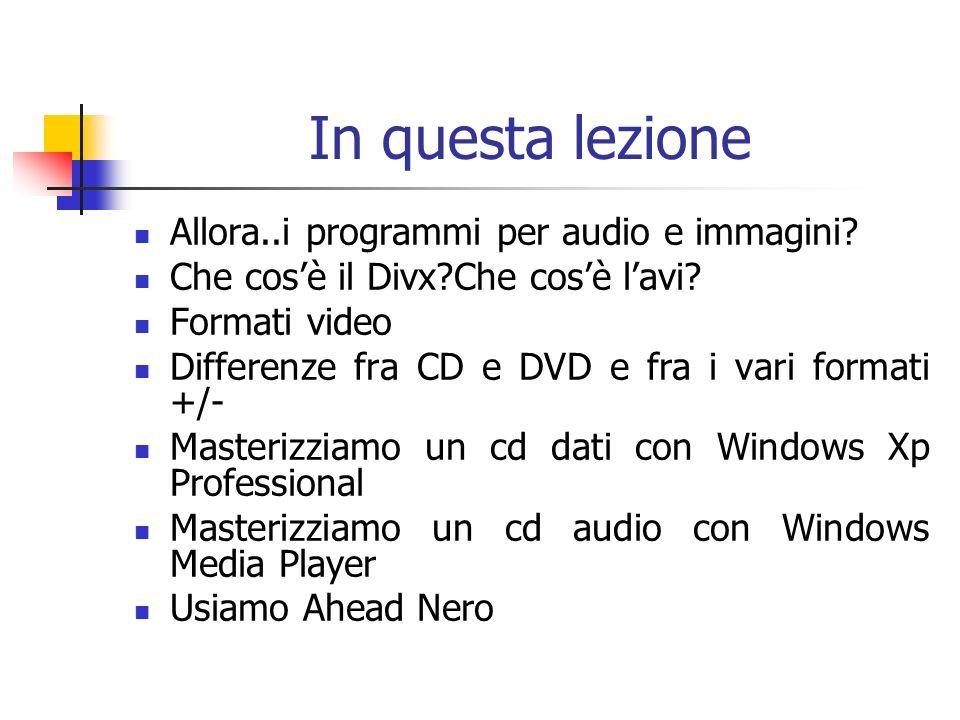 In questa lezione Allora..i programmi per audio e immagini? Che cosè il Divx?Che cosè lavi? Formati video Differenze fra CD e DVD e fra i vari formati