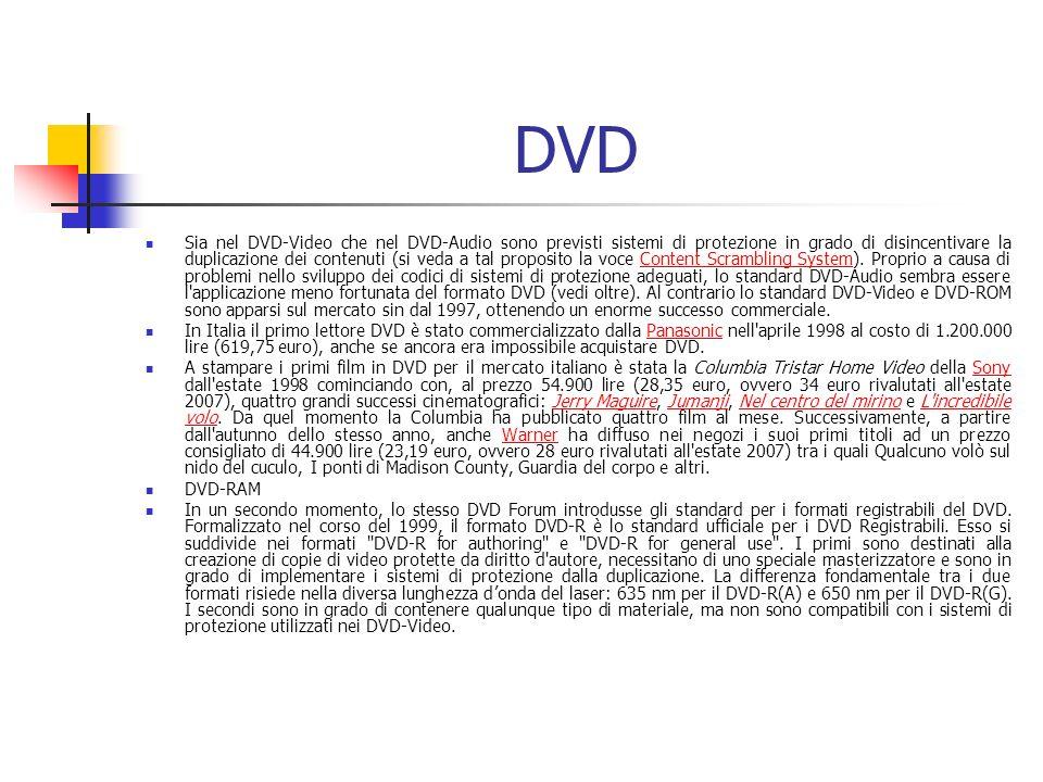 DVD Sia nel DVD-Video che nel DVD-Audio sono previsti sistemi di protezione in grado di disincentivare la duplicazione dei contenuti (si veda a tal pr