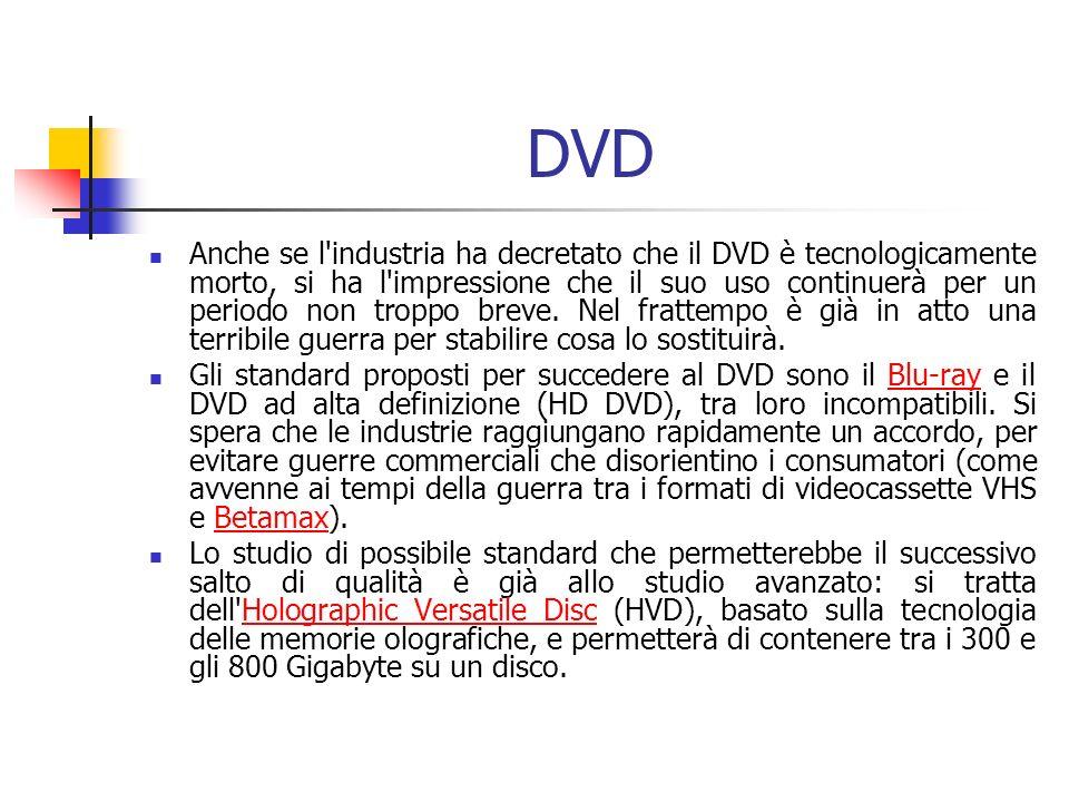 DVD Anche se l industria ha decretato che il DVD è tecnologicamente morto, si ha l impressione che il suo uso continuerà per un periodo non troppo breve.