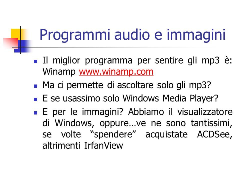 Programmi audio e immagini Il miglior programma per sentire gli mp3 è: Winamp www.winamp.comwww.winamp.com Ma ci permette di ascoltare solo gli mp3.