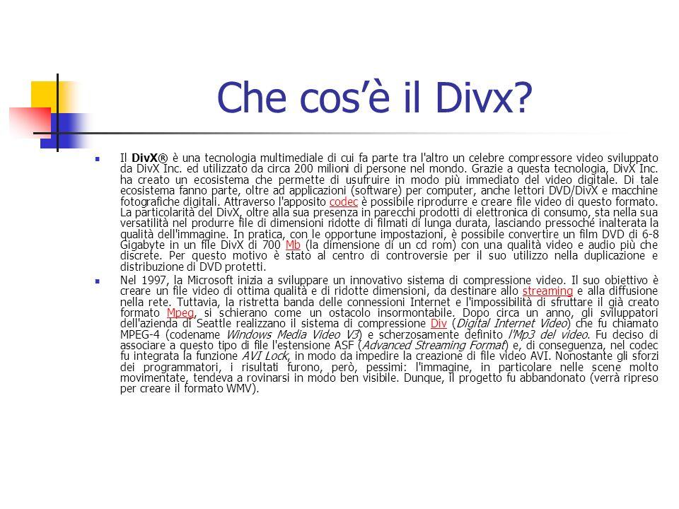 Che cosè il Divx? Il DivX® è una tecnologia multimediale di cui fa parte tra l'altro un celebre compressore video sviluppato da DivX Inc. ed utilizzat
