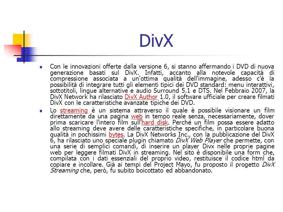 DivX Con le innovazioni offerte dalla versione 6, si stanno affermando i DVD di nuova generazione basati sul DivX. Infatti, accanto alla notevole capa
