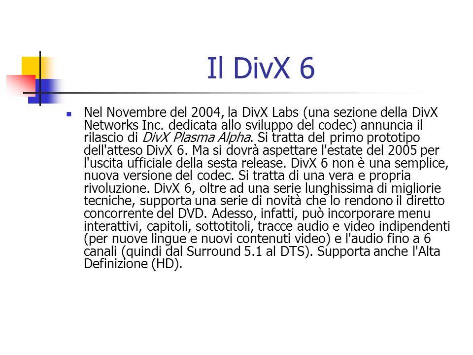 Il DivX 6 Nel Novembre del 2004, la DivX Labs (una sezione della DivX Networks Inc. dedicata allo sviluppo del codec) annuncia il rilascio di DivX Pla