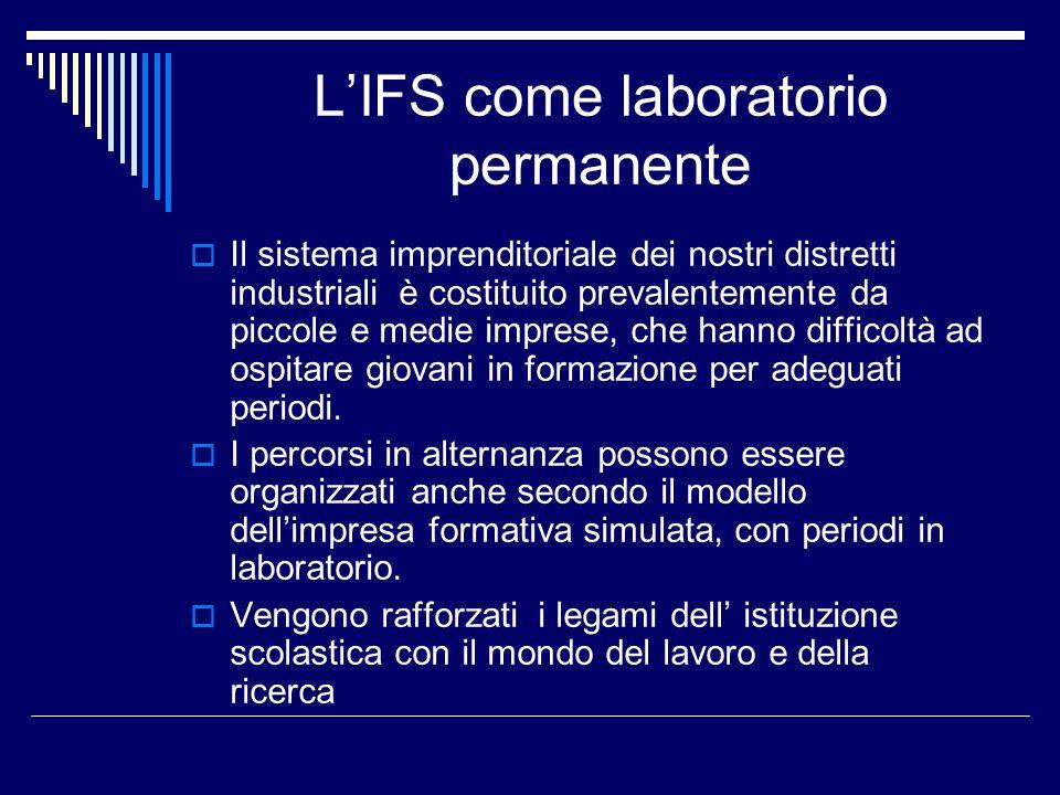 LIFS come laboratorio permanente Il sistema imprenditoriale dei nostri distretti industriali è costituito prevalentemente da piccole e medie imprese,