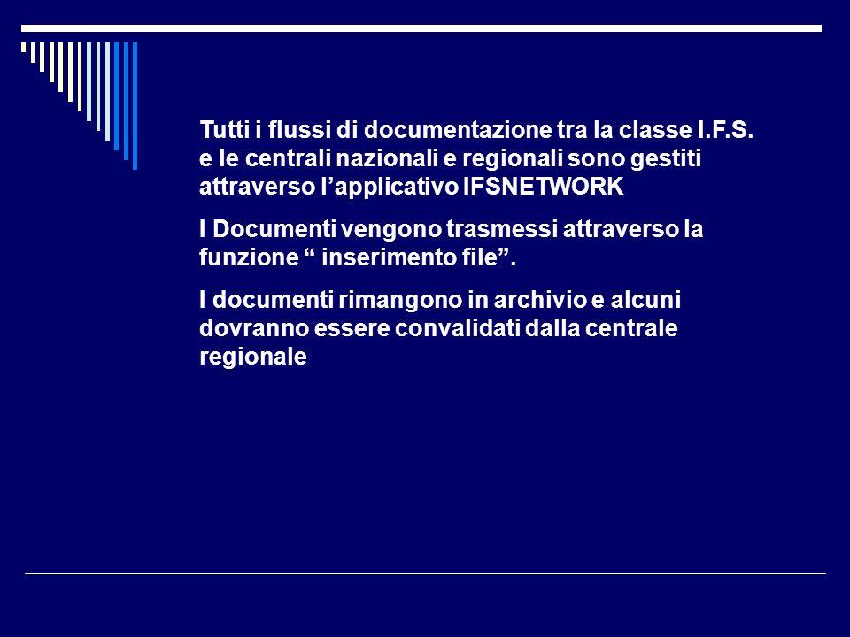 Tutti i flussi di documentazione tra la classe I.F.S. e le centrali nazionali e regionali sono gestiti attraverso lapplicativo IFSNETWORK I Documenti
