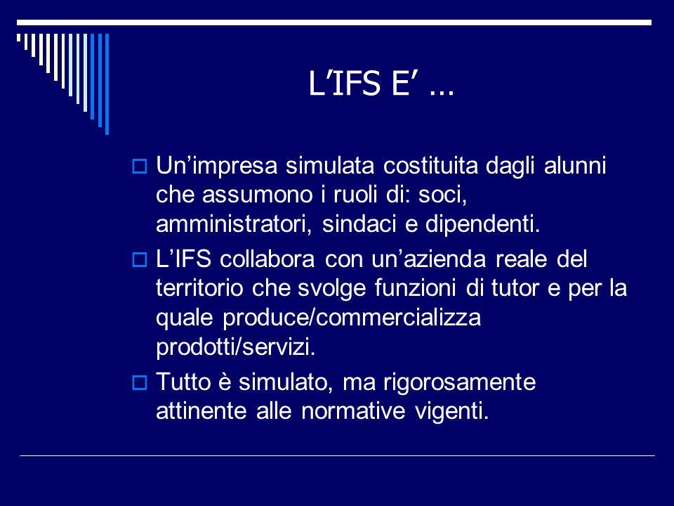 LIFS E … Unimpresa simulata costituita dagli alunni che assumono i ruoli di: soci, amministratori, sindaci e dipendenti. LIFS collabora con unazienda
