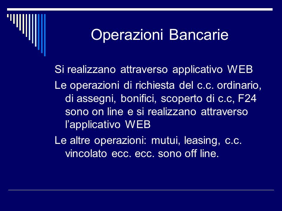 Operazioni Bancarie Si realizzano attraverso applicativo WEB Le operazioni di richiesta del c.c. ordinario, di assegni, bonifici, scoperto di c.c, F24