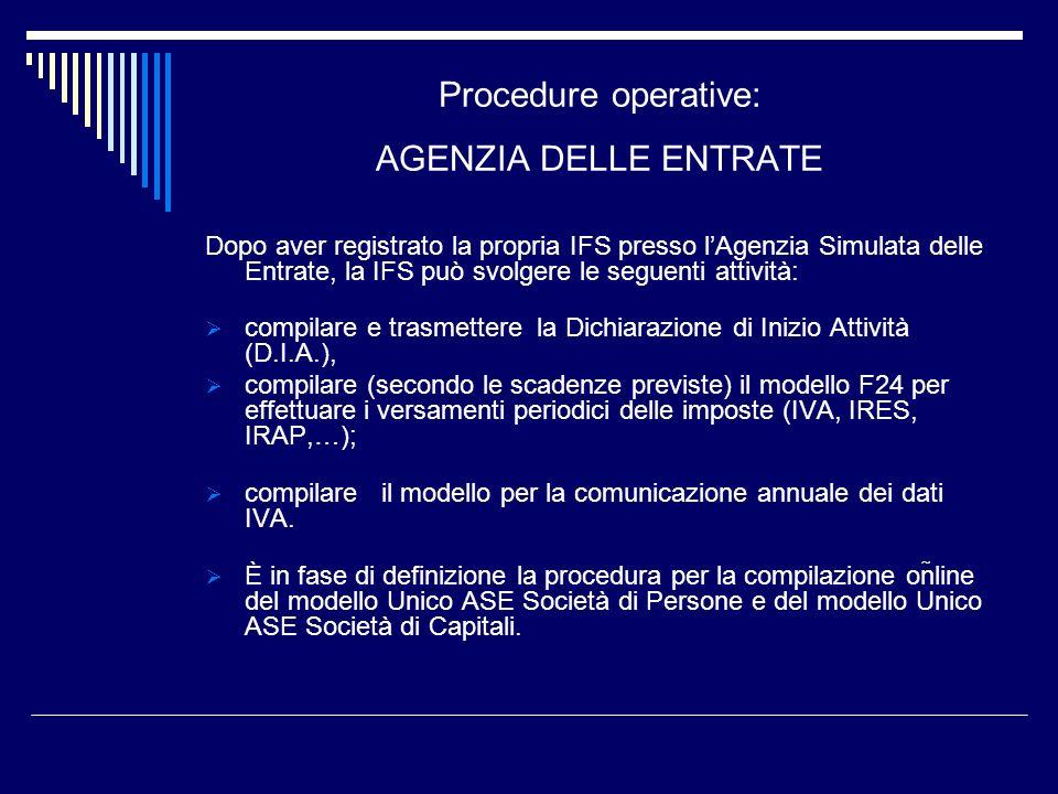 Procedure operative: AGENZIA DELLE ENTRATE Dopo aver registrato la propria IFS presso lAgenzia Simulata delle Entrate, la IFS può svolgere le seguenti