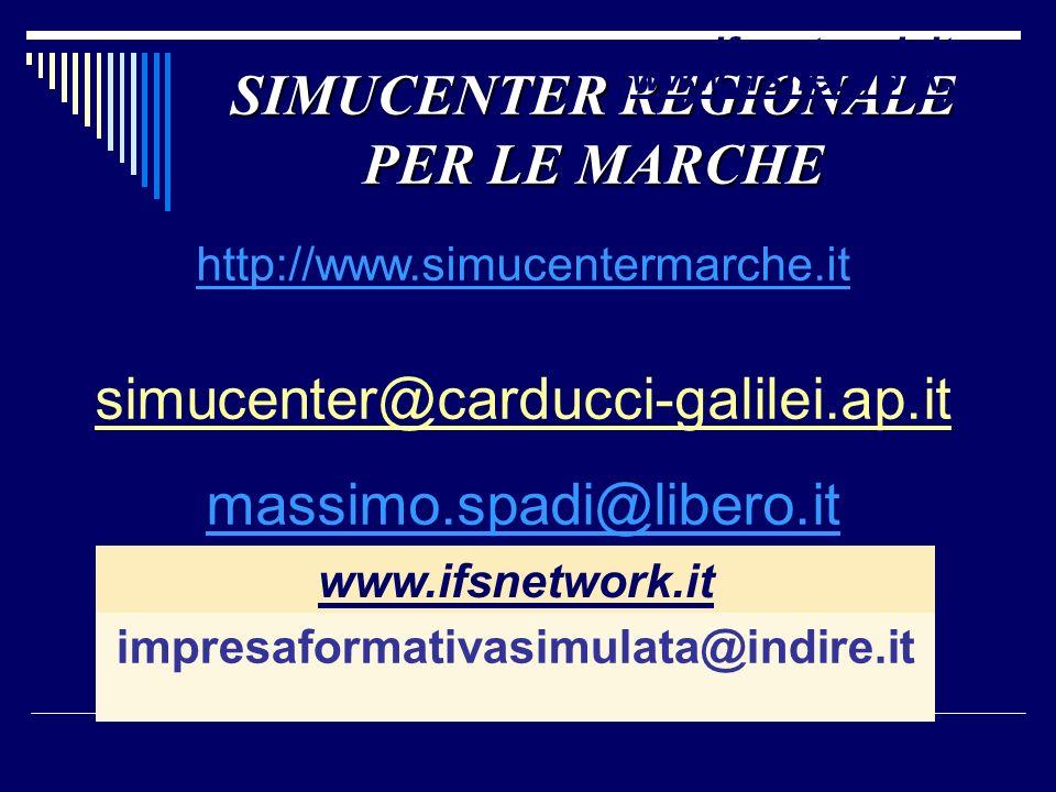 SIMUCENTER REGIONALE PER LE MARCHE http://www.simucentermarche.it simucenter@carducci-galilei.ap.it massimo.spadi@libero.it www.ifsnetwork.it impresaf