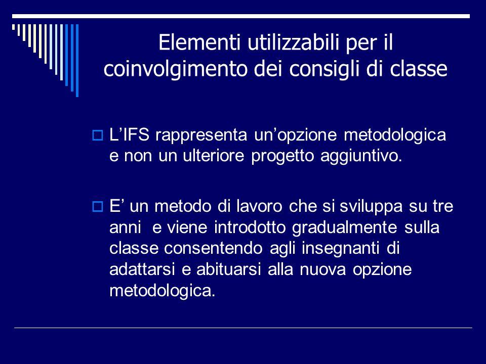 Elementi utilizzabili per il coinvolgimento dei consigli di classe LIFS rappresenta unopzione metodologica e non un ulteriore progetto aggiuntivo. E u