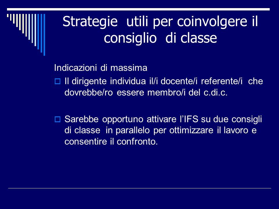 Strategie utili per coinvolgere il consiglio di classe Indicazioni di massima Il dirigente individua il/i docente/i referente/i che dovrebbe/ro essere