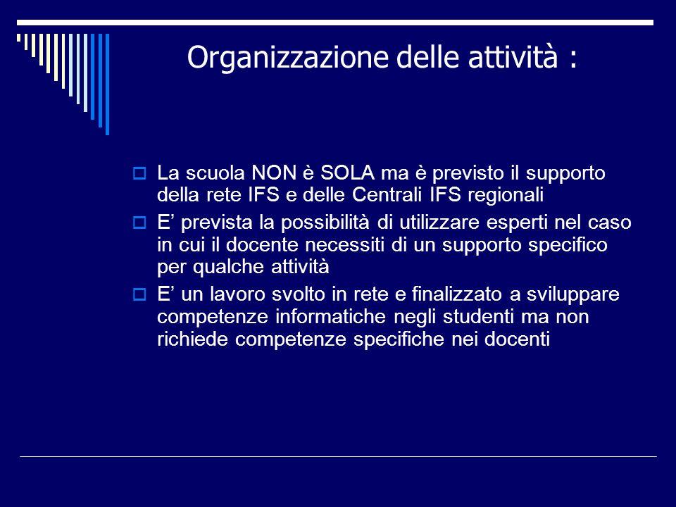 Organizzazione delle attività : La scuola NON è SOLA ma è previsto il supporto della rete IFS e delle Centrali IFS regionali E prevista la possibilità