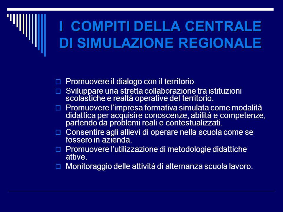 I COMPITI DELLA CENTRALE DI SIMULAZIONE REGIONALE Promuovere il dialogo con il territorio. Sviluppare una stretta collaborazione tra istituzioni scola