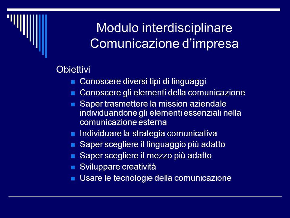 Modulo interdisciplinare Comunicazione dimpresa Obiettivi Conoscere diversi tipi di linguaggi Conoscere gli elementi della comunicazione Saper trasmet