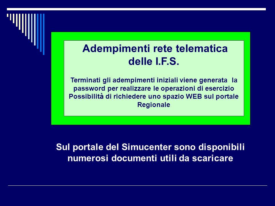 Adempimenti rete telematica delle I.F.S. Terminati gli adempimenti iniziali viene generata la password per realizzare le operazioni di esercizio Possi