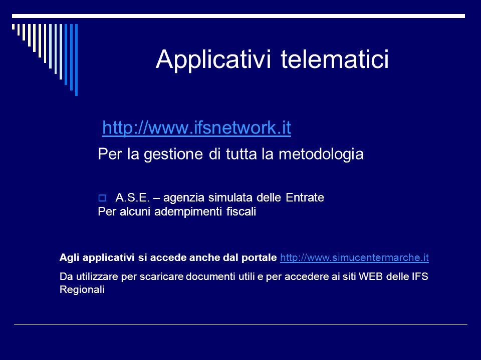 Applicativi telematici http://www.ifsnetwork.it Per la gestione di tutta la metodologia A.S.E. – agenzia simulata delle Entrate Per alcuni adempimenti