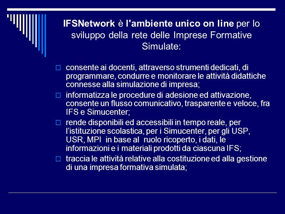 IFSNetwork è l'ambiente unico on line per lo sviluppo della rete delle Imprese Formative Simulate: consente ai docenti, attraverso strumenti dedicati,