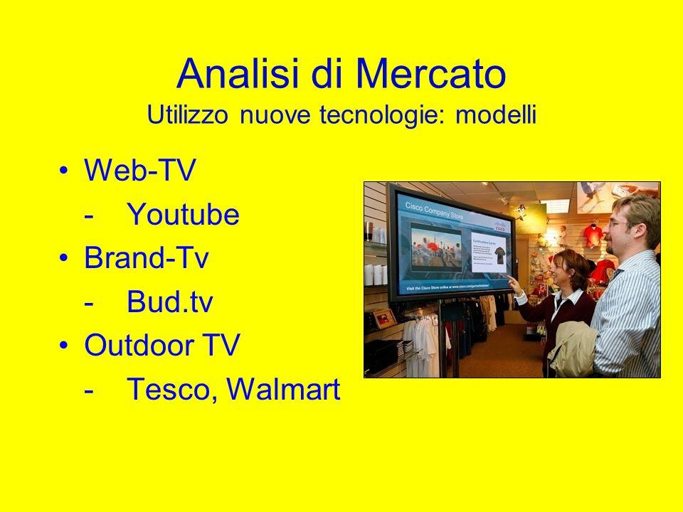 Analisi di Mercato Utilizzo nuove tecnologie: modelli Web-TV -Youtube Brand-Tv -Bud.tv Outdoor TV -Tesco, Walmart