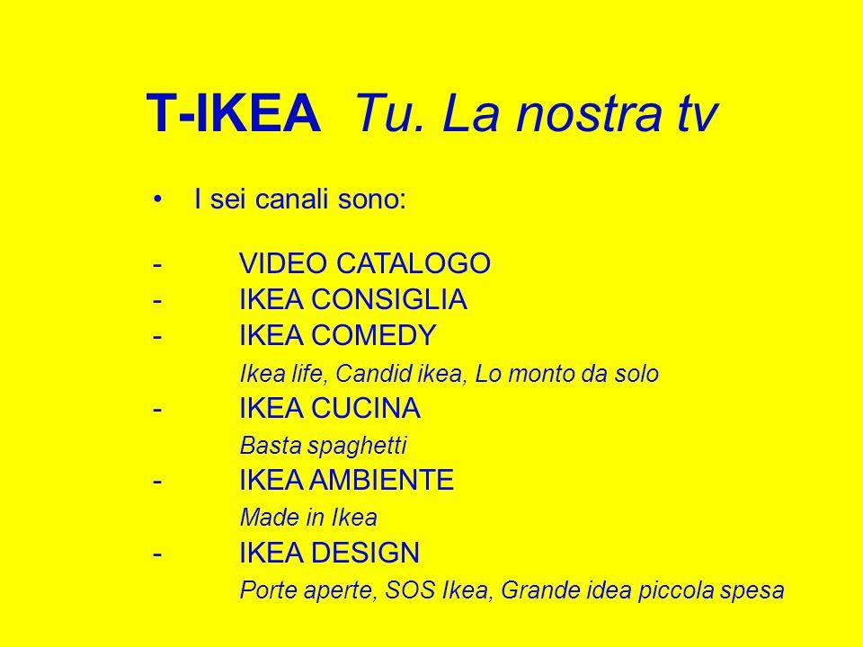 T-IKEA Tu. La nostra tv I sei canali sono: -VIDEO CATALOGO -IKEA CONSIGLIA -IKEA COMEDY Ikea life, Candid ikea, Lo monto da solo -IKEA CUCINA Basta sp