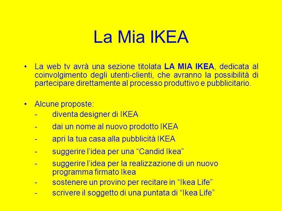 La Mia IKEA La web tv avrà una sezione titolata LA MIA IKEA, dedicata al coinvolgimento degli utenti-clienti, che avranno la possibilità di partecipar