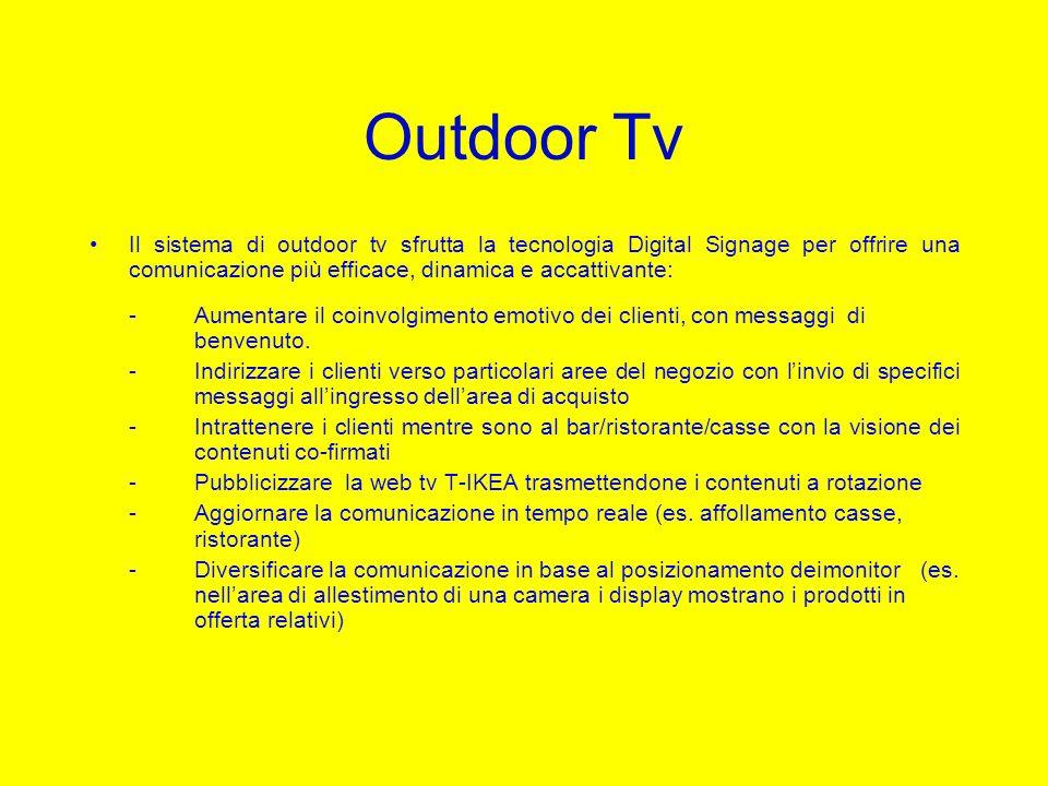 Outdoor Tv Il sistema di outdoor tv sfrutta la tecnologia Digital Signage per offrire una comunicazione più efficace, dinamica e accattivante: -Aument