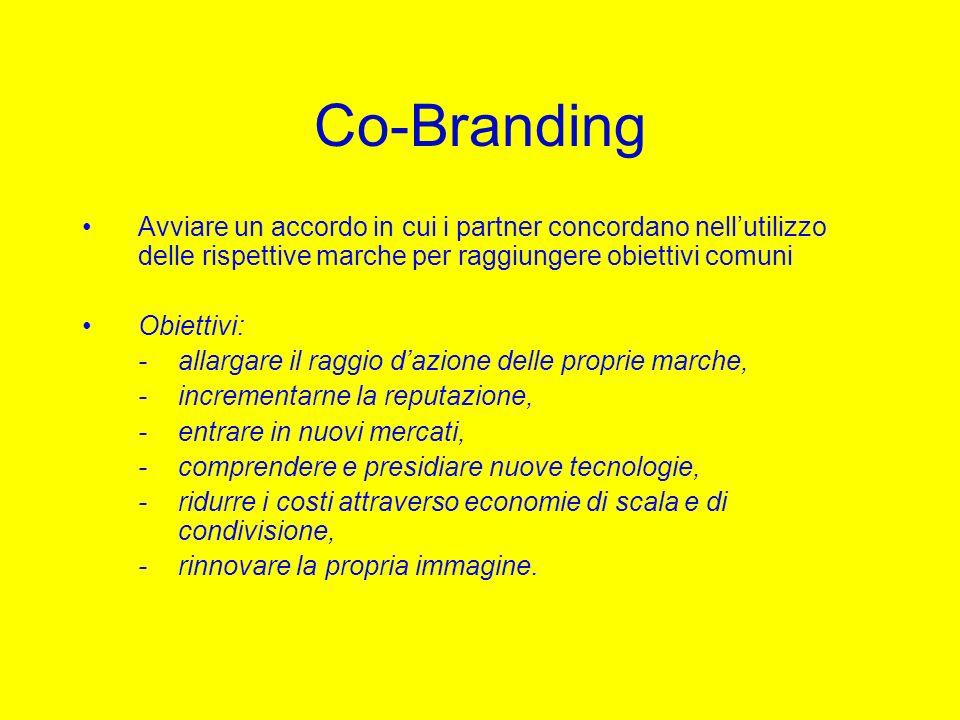 Co-Branding Avviare un accordo in cui i partner concordano nellutilizzo delle rispettive marche per raggiungere obiettivi comuni Obiettivi: -allargare