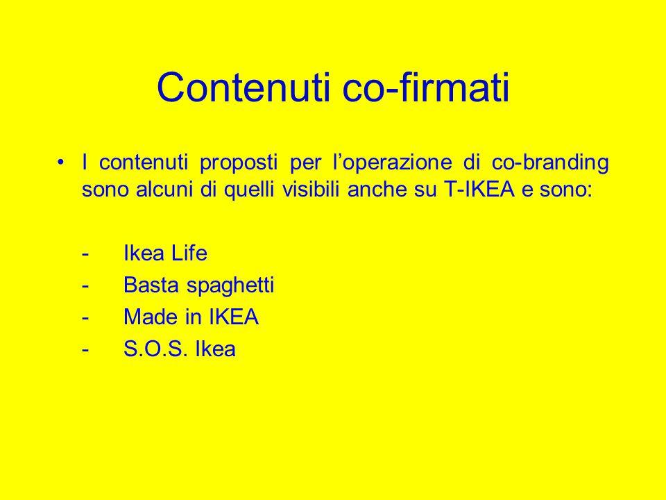 Contenuti co-firmati I contenuti proposti per loperazione di co-branding sono alcuni di quelli visibili anche su T-IKEA e sono: -Ikea Life -Basta spag