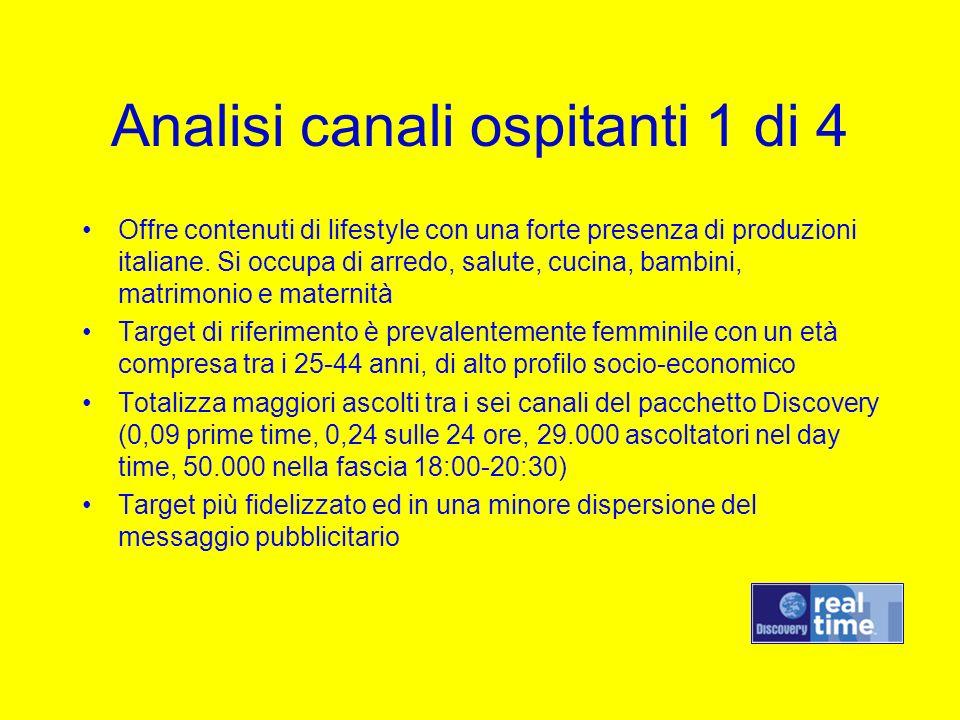 Analisi canali ospitanti 1 di 4 Offre contenuti di lifestyle con una forte presenza di produzioni italiane. Si occupa di arredo, salute, cucina, bambi