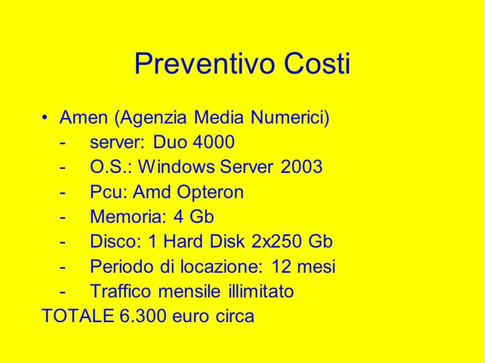 Preventivo Costi Amen (Agenzia Media Numerici) -server: Duo 4000 -O.S.: Windows Server 2003 -Pcu: Amd Opteron -Memoria: 4 Gb -Disco: 1 Hard Disk 2x250