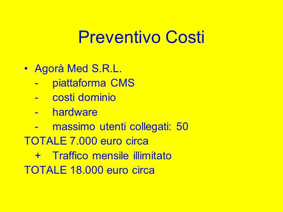 Preventivo Costi Agorà Med S.R.L. -piattaforma CMS -costi dominio -hardware -massimo utenti collegati: 50 TOTALE 7.000 euro circa +Traffico mensile il