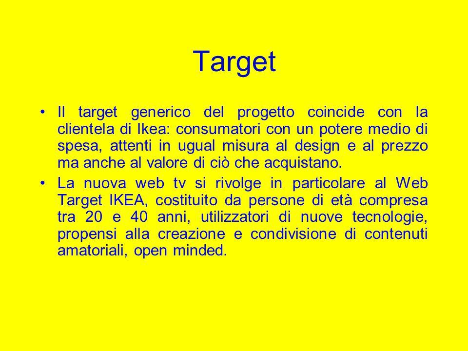 Target Il target generico del progetto coincide con la clientela di Ikea: consumatori con un potere medio di spesa, attenti in ugual misura al design