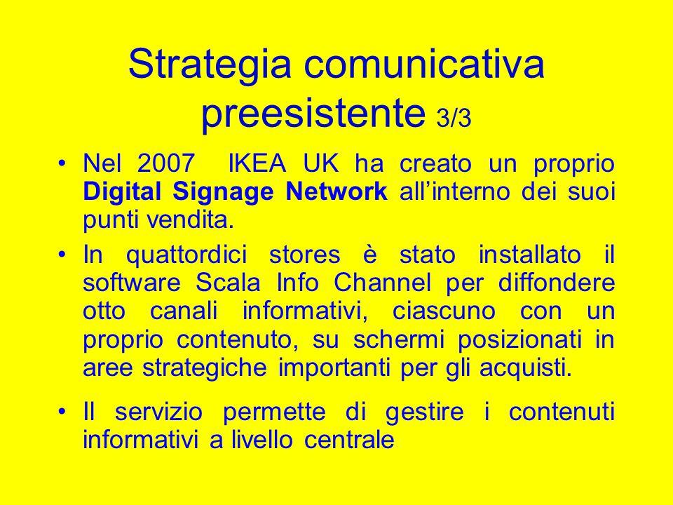 Strategia comunicativa preesistente 3/3 Nel 2007 IKEA UK ha creato un proprio Digital Signage Network allinterno dei suoi punti vendita. In quattordic