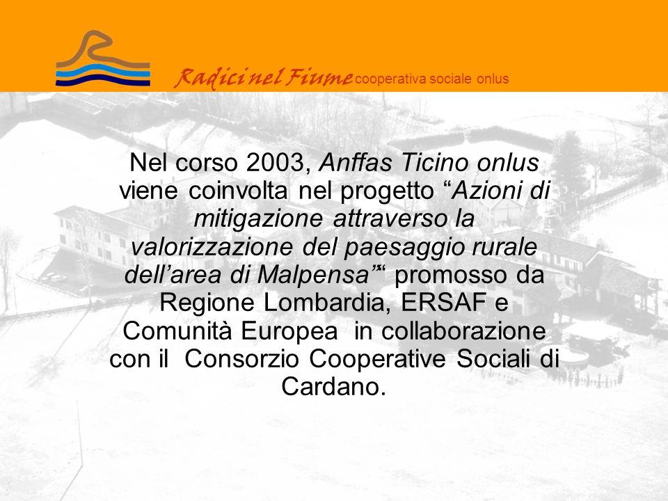 Radici nel Fiume cooperativa sociale onlus Nel corso 2003, Anffas Ticino onlus viene coinvolta nel progetto Azioni di mitigazione attraverso la valorizzazione del paesaggio rurale dellarea di Malpensa promosso da Regione Lombardia, ERSAF e Comunità Europea in collaborazione con il Consorzio Cooperative Sociali di Cardano.
