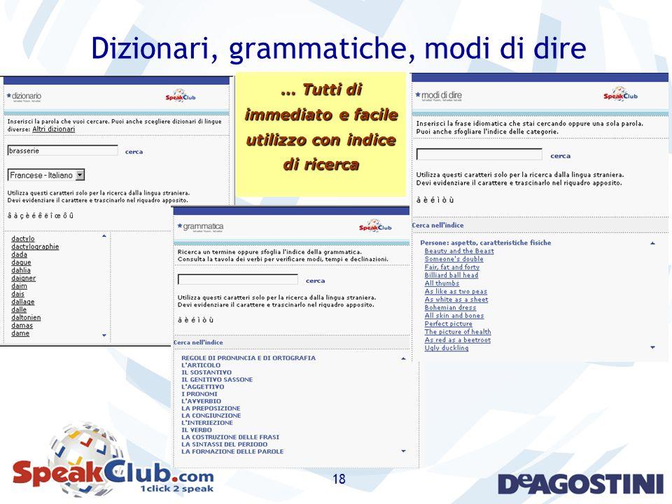 18 Dizionari, grammatiche, modi di dire … Tutti di immediato e facile utilizzo con indice di ricerca
