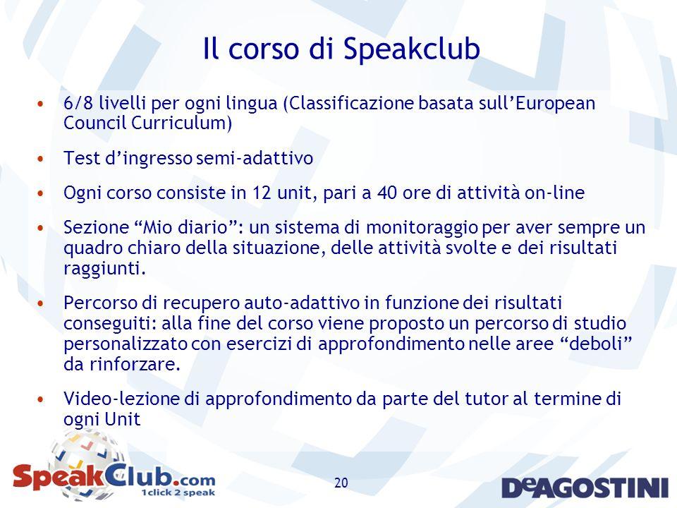 20 Il corso di Speakclub 6/8 livelli per ogni lingua (Classificazione basata sullEuropean Council Curriculum) Test dingresso semi-adattivo Ogni corso