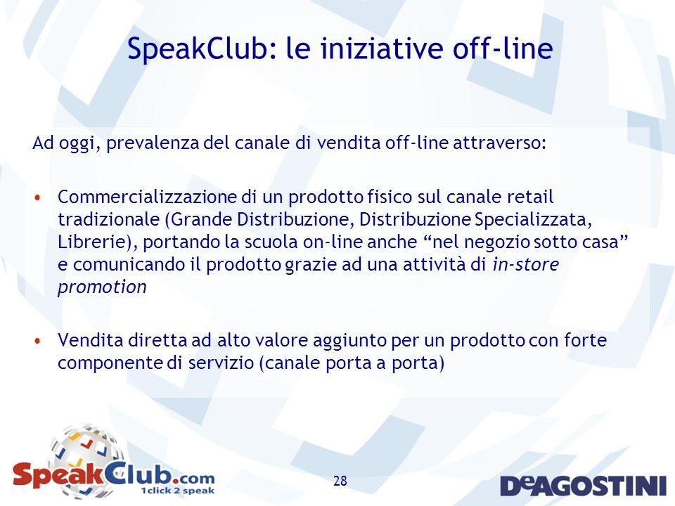 28 SpeakClub: le iniziative off-line Ad oggi, prevalenza del canale di vendita off-line attraverso: Commercializzazione di un prodotto fisico sul cana