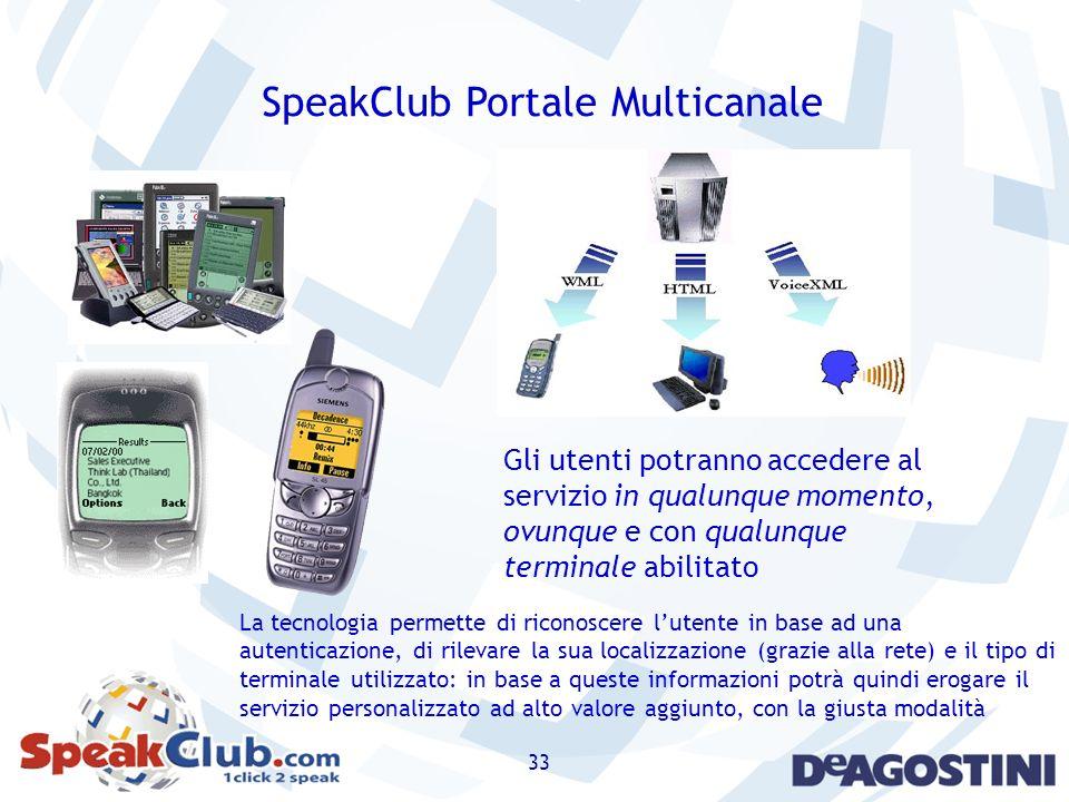 33 SpeakClub Portale Multicanale Gli utenti potranno accedere al servizio in qualunque momento, ovunque e con qualunque terminale abilitato La tecnolo