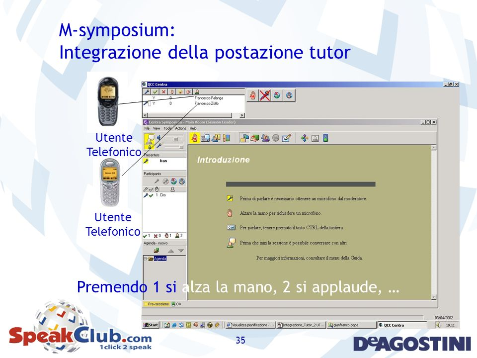 35 Utente Telefonico Utente Telefonico M-symposium: Integrazione della postazione tutor Premendo 1 si alza la mano, 2 si applaude, …