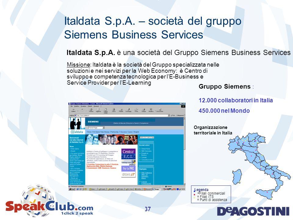 37 Legenda = Filiali ITS = Punti di assistenza Organizzazione territoriale in Italia =Filiali commerciali Gruppo Siemens : 12.000 collaboratori in Ita