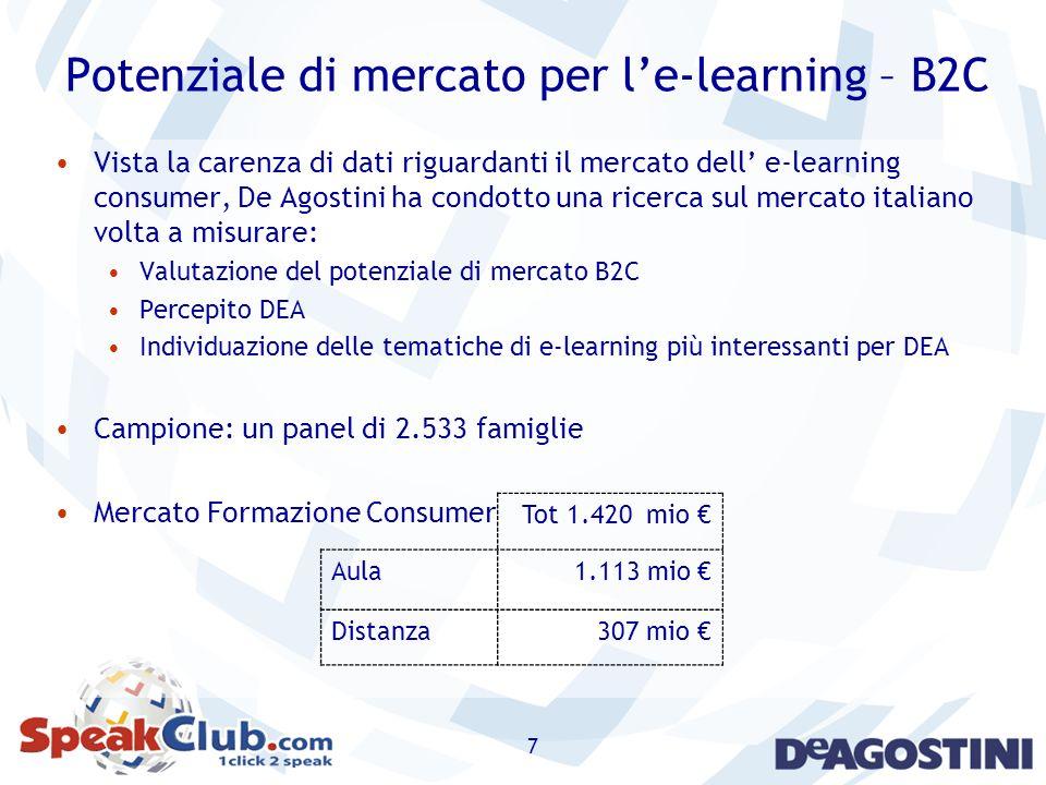 7 Potenziale di mercato per le-learning – B2C Vista la carenza di dati riguardanti il mercato dell e-learning consumer, De Agostini ha condotto una ri