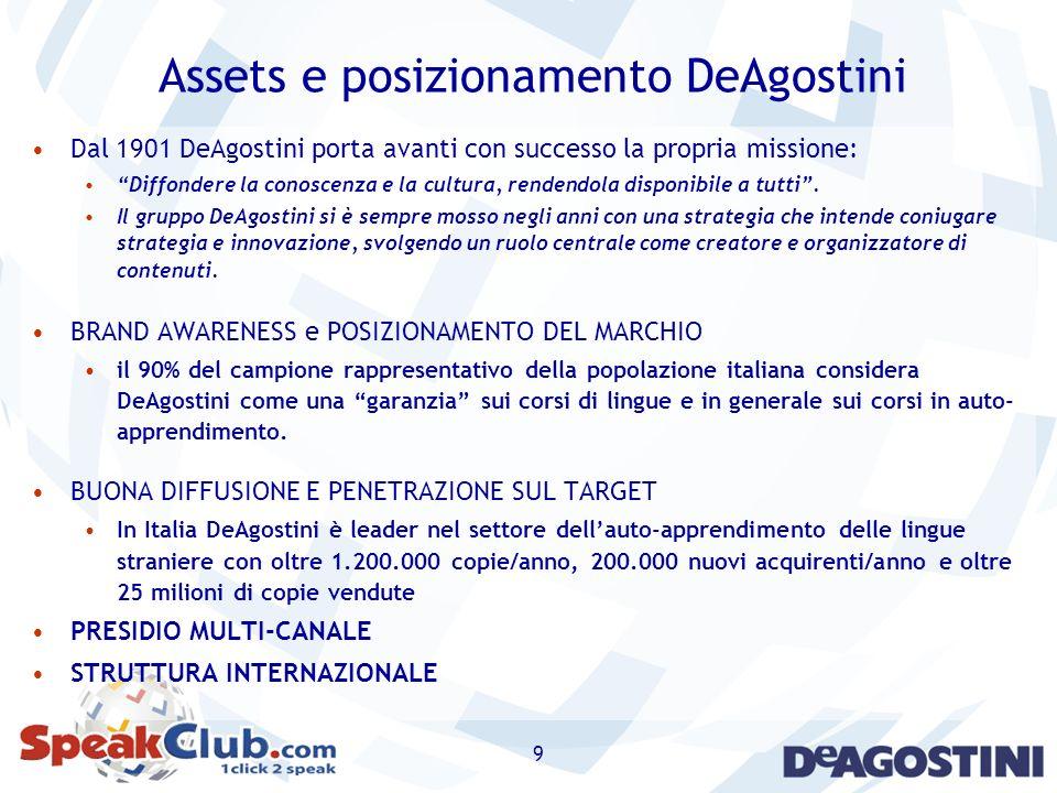 9 Assets e posizionamento DeAgostini Dal 1901 DeAgostini porta avanti con successo la propria missione: Diffondere la conoscenza e la cultura, rendend