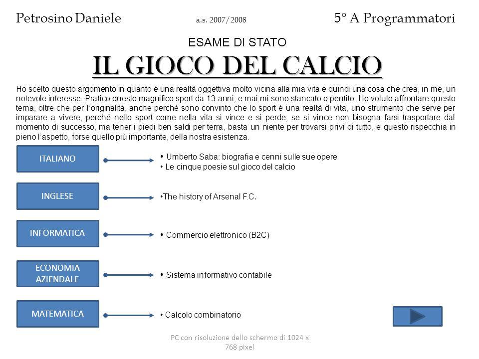 PC con risoluzione dello schermo di 1024 x 768 pixel ITALIANO INFORMATICA INGLESE ECONOMIA AZIENDALE MATEMATICA Umberto Saba: biografia e cenni sulle