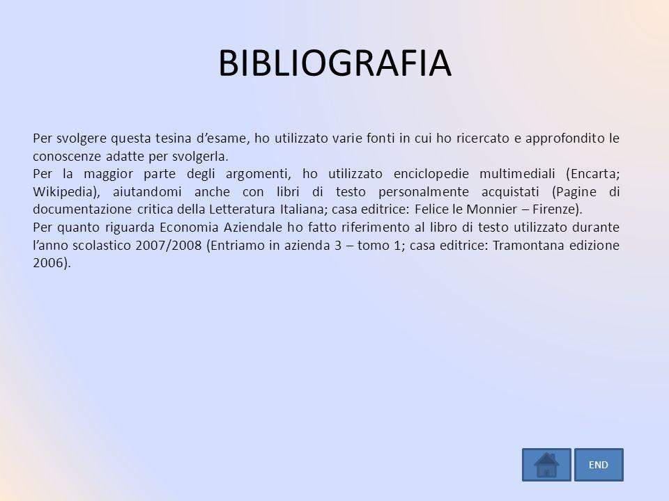BIBLIOGRAFIA Per svolgere questa tesina desame, ho utilizzato varie fonti in cui ho ricercato e approfondito le conoscenze adatte per svolgerla. Per l