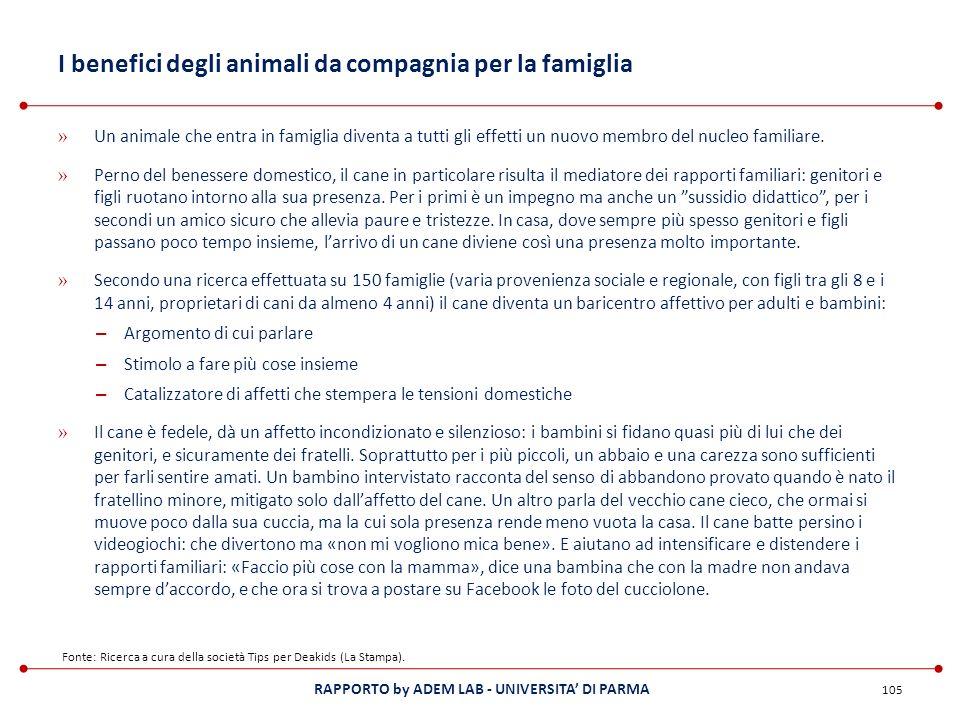 RAPPORTO by ADEM LAB - UNIVERSITA DI PARMA I benefici degli animali da compagnia per la famiglia » Un animale che entra in famiglia diventa a tutti gl