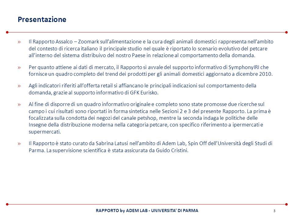 RAPPORTO by ADEM LAB - UNIVERSITA DI PARMA Presentazione » Il Rapporto Assalco – Zoomark sullalimentazione e la cura degli animali domestici rappresen