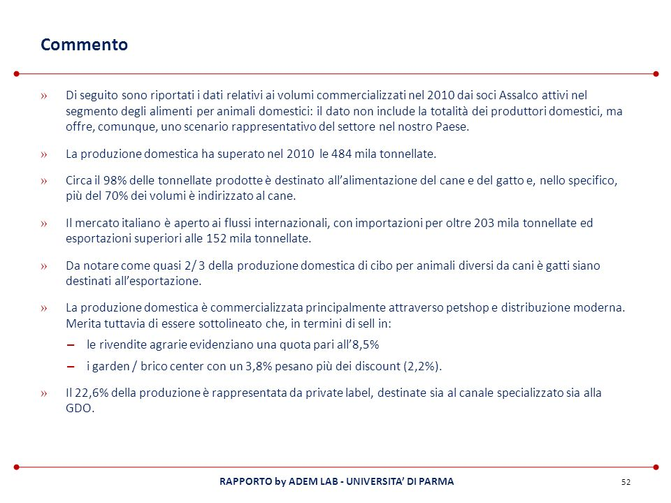 RAPPORTO by ADEM LAB - UNIVERSITA DI PARMA Commento » Di seguito sono riportati i dati relativi ai volumi commercializzati nel 2010 dai soci Assalco a