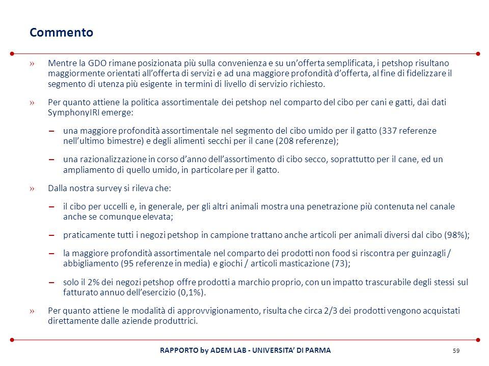 RAPPORTO by ADEM LAB - UNIVERSITA DI PARMA Commento » Mentre la GDO rimane posizionata più sulla convenienza e su unofferta semplificata, i petshop ri