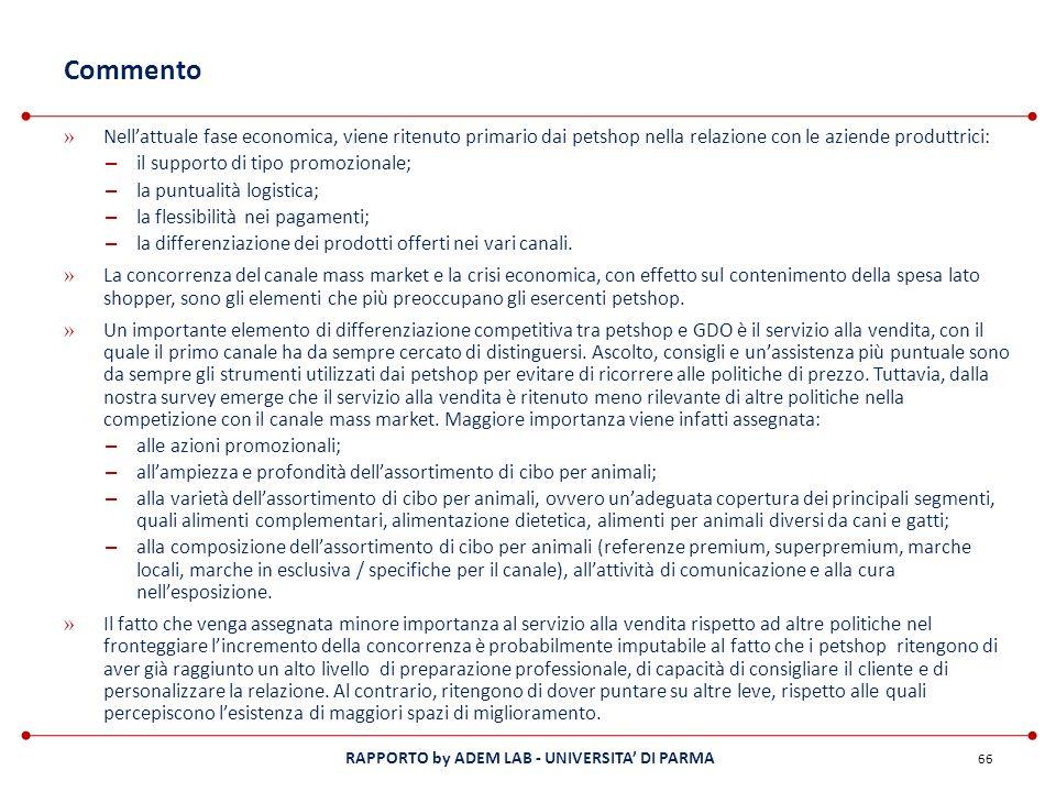 RAPPORTO by ADEM LAB - UNIVERSITA DI PARMA Commento » Nellattuale fase economica, viene ritenuto primario dai petshop nella relazione con le aziende p