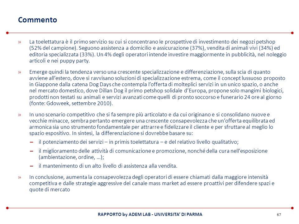 RAPPORTO by ADEM LAB - UNIVERSITA DI PARMA Commento » La toelettatura è il primo servizio su cui si concentrano le prospettive di investimento dei neg