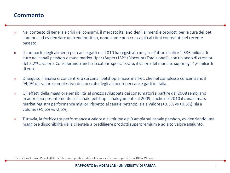 RAPPORTO by ADEM LAB - UNIVERSITA DI PARMA Commento » Nel contesto di generale crisi dei consumi, il mercato italiano degli alimenti e prodotti per la